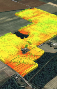 A heat map from satellite data uses colors to represent crop conditions